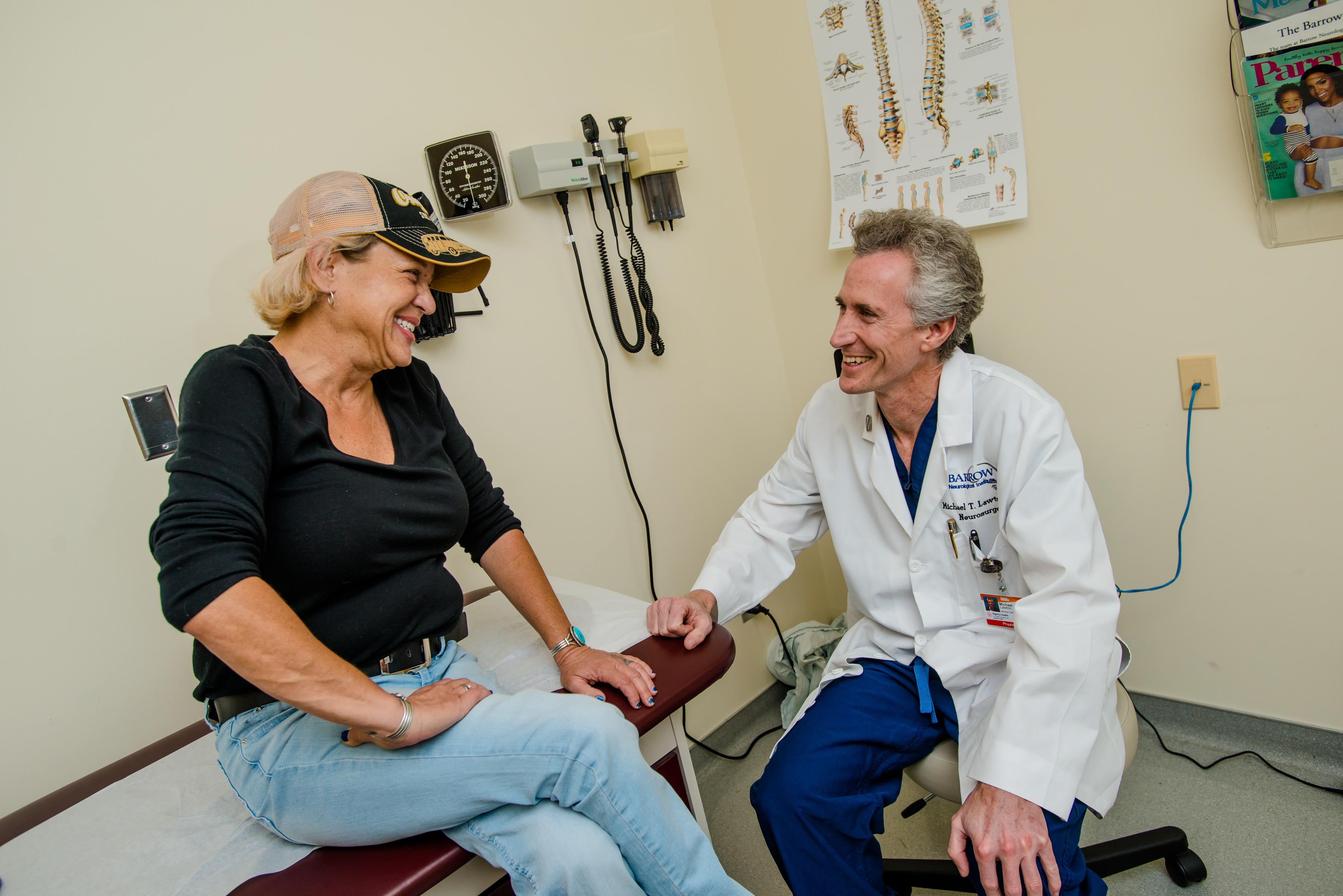 Dr. Lawton talking to patient
