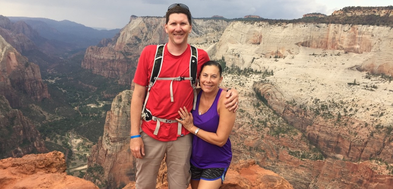 Barrow patient, Kimberly Fisher, hiking with husband.