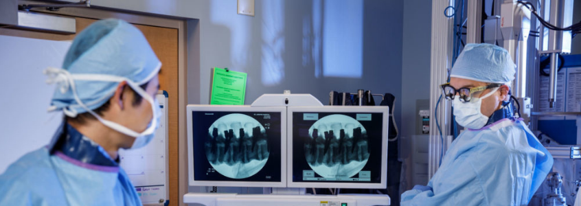 Doctors reviewing spine results in lab